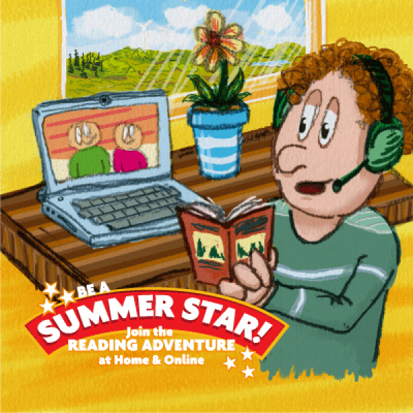 Summer Stars illustration showing child reading a book in front of a laptop