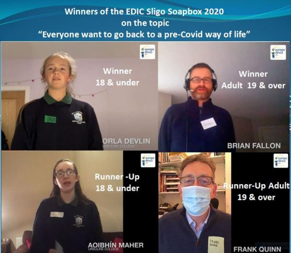 EDIC Sligo Regional Soapbox Winners and runners up in the