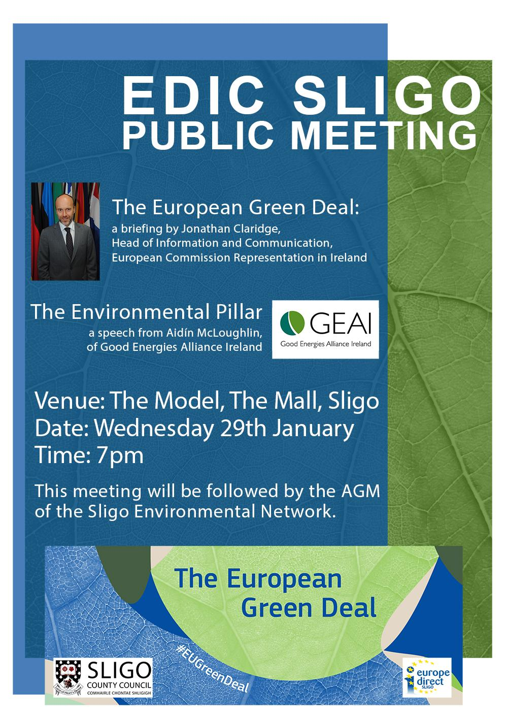 A Poster with information about EDIC Sligo Public Meeting on January 29th 2020
