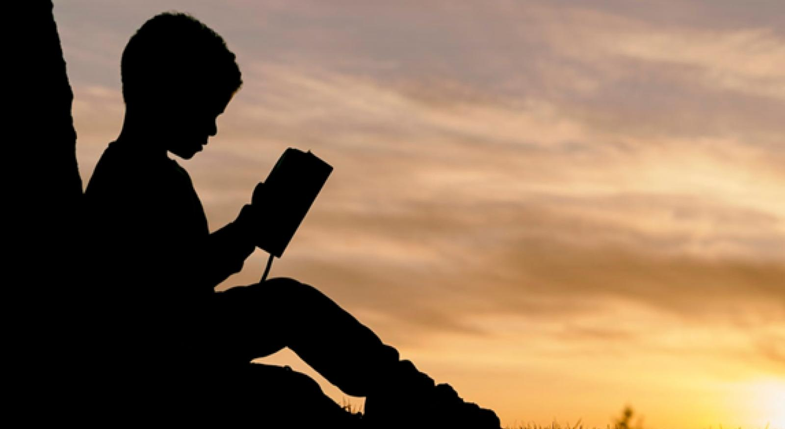 silhouette of child sitting behind tree during sunset reading